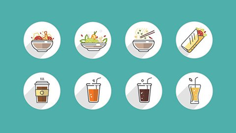 Baran restaurant icon set